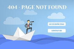 la página de 404 errores no encontró la bandera para la página web stock de ilustración