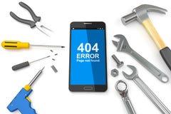 la página de 404 errores, pagina el error 404 en Smartphone con las herramientas ilustración 3D Foto de archivo libre de regalías