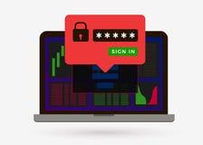 La página de inicio de sesión se protege en cryptocurrency e intercambio de las divisas stock de ilustración