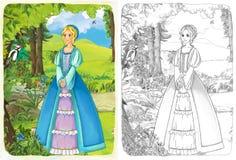 La página del colorante del bosquejo con el avance - estilo artístico - ejemplo para los niños Foto de archivo libre de regalías