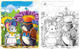 La página del colorante del bosquejo con el avance - estilo artístico - ejemplo para los niños Imagen de archivo libre de regalías