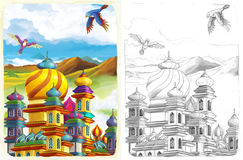 La página del colorante del bosquejo - cuento de hadas del estilo artístico Fotografía de archivo libre de regalías
