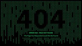 La página del error 404 con números verdes vector el ejemplo Fotografía de archivo