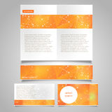 La página del folleto, la bandera y el vector de la tarjeta de visita diseñan plantillas con tema molecular abstracto de la conex Foto de archivo