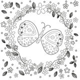 La página del libro de colorear para la línea creación del arte, flores y mariposa, se relaja y vector de los adultos de la medit Imagenes de archivo
