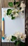 La página en blanco de un cuaderno y de una manzana florece Fotos de archivo libres de regalías