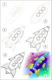 La página muestra cómo aprender paso a paso dibujar el cohete Fotos de archivo