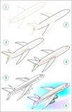 La página muestra cómo aprender paso a paso dibujar un avión Imagen de archivo
