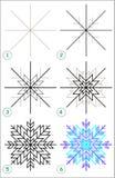 La página muestra cómo aprender paso a paso dibujar un copo de nieve Fotografía de archivo libre de regalías