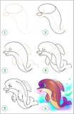 La página muestra cómo aprender paso a paso dibujar un delfín Imagenes de archivo
