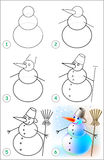 La página muestra cómo aprender paso a paso dibujar un muñeco de nieve Imágenes de archivo libres de regalías