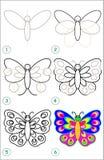 La página muestra cómo aprender paso a paso dibujar una mariposa Fotos de archivo libres de regalías