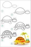 La página muestra cómo aprender paso a paso dibujar una tortuga Imagen de archivo
