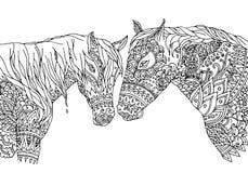La página que coloreaba en zentangle inspiró estilo Vector el mustango a mano de los caballos del ejemplo, aislado en el fondo bl imagen de archivo libre de regalías