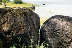La pétroglyphe antique est située dans le Sikhote-Alin, Khabarovsk, Russie Images libres de droits