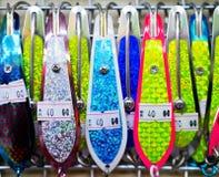 La pêche abstraite leurre coloré et brillant photos stock