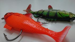 La pêche de l'attrait accroche le poisson rouge Images stock