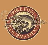 La pêche de truite de vintage symbolise, des labels et conception Photos stock