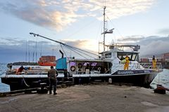 La pêche du bateau de pêche au chalut arrive aux ports du cuisinier d'Avatiu Rarotonga photographie stock