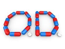 La píldora de la sobredosis del OD encapsula al drogadicto de la medicación Fotos de archivo libres de regalías