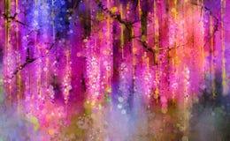 La púrpura de la primavera florece glicinia Pintura de la acuarela