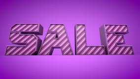 La púrpura del texto de la venta 3d raya el ejemplo 3d Imágenes de archivo libres de regalías
