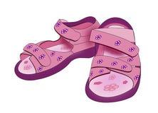 La púrpura embroma las sandalias Foto de archivo libre de regalías