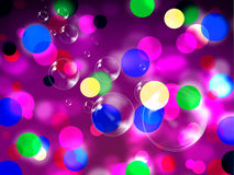 La púrpura mancha la decoración y burbujas manchadas las demostraciones del fondo Fotografía de archivo libre de regalías