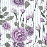 La púrpura subió las flores con las hojas en fondo azul y blanco rayado ilustración del vector