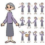 La púrpura viste a la abuela a disposición pintada Foto de archivo libre de regalías