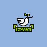La pace si è tuffata con il ramo verde Fotografia Stock Libera da Diritti