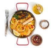 La Paella a fait des fruits de mer, au-dessus de vue Photographie stock libre de droits