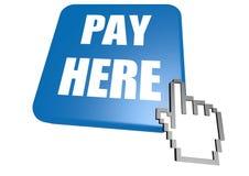 La paga aquí abotona con el cursor Fotos de archivo