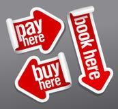 La paga, buy, prenota qui gli autoadesivi. illustrazione vettoriale