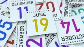 La page de calendrier montre la date du 19 juin, le rendu 3D illustration stock