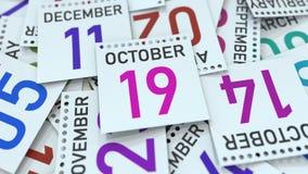 La page de calendrier montre la date du 19 octobre rendu 3d illustration stock