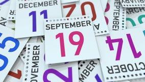 La page de calendrier montre la date du 19 septembre, le rendu 3D illustration stock
