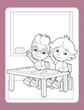 La page de coloration avec l'exercice - le thème d'école - illustration pour les enfants illustration libre de droits