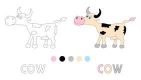 La page de coloration pour des enfants avec la vache et la main dessinent des lettres Images stock