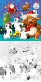 La page de Noël de coloration avec la prévision colorée illustration stock