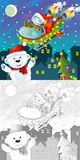 La page de Noël de coloration avec la prévision colorée Image libre de droits
