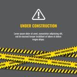 La page en construction de site Web avec les frontières rayées noires et jaunes dirigent l'illustration illustration de vecteur