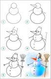 La page montre comment apprendre point par point à dessiner un bonhomme de neige Images libres de droits