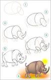 La page montre comment apprendre point par point à dessiner un rhinocéros Photo stock