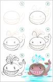 La page montre comment apprendre point par point - Comment dessiner une baleine ...