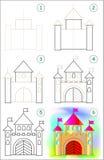 La page montre comment apprendre point par point à dessiner une caste Images libres de droits