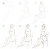 La page montre comment apprendre point par point à dessiner une femme s'asseyante Photos stock