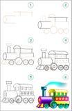 La page montre comment apprendre point par point à dessiner une locomotive à vapeur Photographie stock