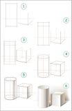 La page montre comment apprendre point par point à dessiner une vie immobile avec le cylindre et le cube Images stock