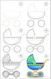La page montre comment apprendre point par point à dessiner une voiture d'enfant Photographie stock